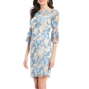 Adrianna Papell Blue Embroidered Sheath Dress.